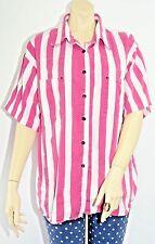 Vtg 80's 90's Button Up Pink White Striped Shirt Gitano Size XL Short Sleeves GU