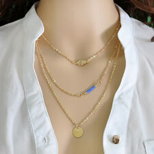 Gold Statement Bib hamsa hand Pendant 3 Layers Chain Clavicle Choker Necklace