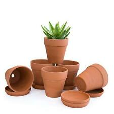 Pack of 6 Pots with Saucers, Clay Pots with Tray, 5 Inch, 588 5 inch Terracotta