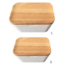 Nordic Sealing Butter Box with Wood Lid Knife Storage Tray Dish Container Keep