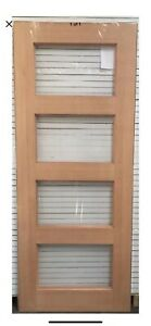 Internal Four Horizontal Timber Door With Clear Glass 2040 X 820 X 35 On Special