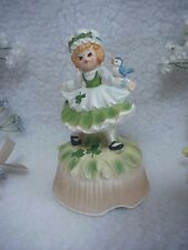 "MUSICAL St. Patricks Day Girl Figurine ~""When Irish Eyes Are Smiling""~Japan"