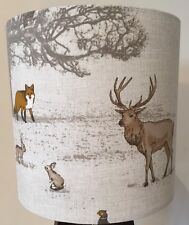 Lampshade In Fryett Woodland Fabric, Country, Fox, Stag, Squirrel 40cm