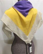 "PRADA Silk Square Scarf Italy Foulard Crepe de Chine Iris Lavanda Purple 31"""