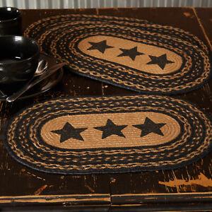 "VHC Brands Primitive 12""x18"" Stars Placemat Set of 6 Black Kitchen Table Decor"