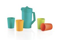 Tupperware Kids Mini Tea Party Beverage Set Classic Pitcher + 4 Tumblers New