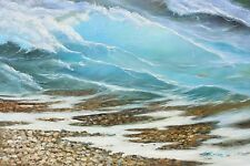 "Seashore waves, original E. European oil painting by Andrey Stas 24x36"" 62x92 cm"