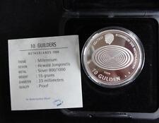 1999/2000 SILVER PROOF NETHERLANDS 10 GULDEN COIN BOX + COA THE MILLENNIUM