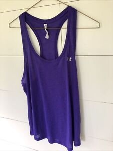 Under Armour Women's Loose Fit Breathable Racerback Tank Top Purple Size L