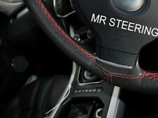 Si adatta Ford Fiesta MK6 02-08 NERO COPRI VOLANTE IN PELLE ROSSA doppia cucitura