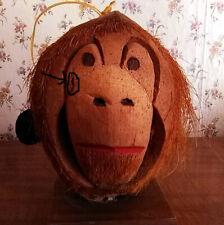New listing Fun Monkey Coconut Shell Hanging Shelf-Sitting Head Key West Bird House Feeder