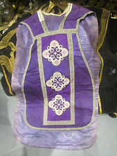 ANCIEN CHASUBLE aube robe priest dress sacerdote casulla cape brode petit point