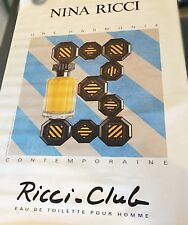 Affiche Publicitaire Parfum Nina Ricci Club 1989 vintage - SERIGRAPHIE 177x119cm