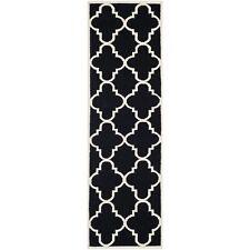 Safavieh Flat weave Wool Black/ Ivory 2' 6 x 12' Runner