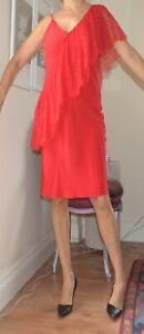 DIANE VON FURSTENBERG Red Silk Sleeveless Dress Lipstick DVF New UK 14 16 Lace