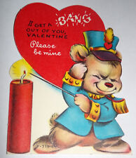 Vtg 1950s Dynamite Firecracker Teddy Bear Bang Children's Valentine's Day Card
