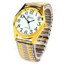 2Tone Medium Size Face Easy to Read Geneva Stretch Band Watch