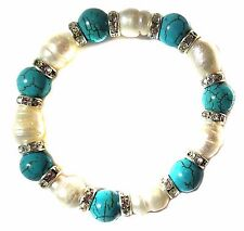 Bracelet Genuine White Cultured Freshwater Pearls Turquoise Beads Crystals