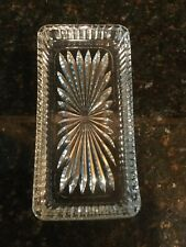 Vintage clear cut glass rectangular tray, trinket, butter dish, small plater