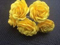 6 Bridal Wedding Sunny Yellow Rose Flower Hair Pins Clips Grips handmade