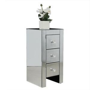 Verspiegelter Nachttisch mit 3 Schubladen 30 x 30 x 60 cm Beistelltisch Kommode