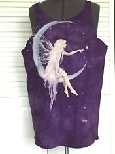 The Mountain FAIRY MOON Purple Tie-Dye Muscle Tank Top Cut-off T-Shirt Size L