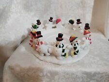 PartyLite Candle Ring Frolicking Frosties Christmas Snowman Holiday Party Lite