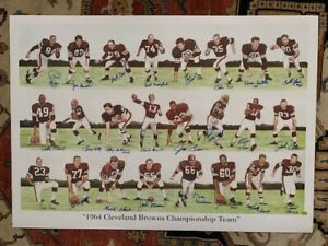 1964 CLEVELAND BROWNS SIGNED 24x34 PRINT    SIGNED BY 24 PLAYERS    JIM BROWN