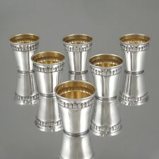 1920's French Sterling Silver & Vermeil Gold, Liquor Cordial Cups, 6 pcs