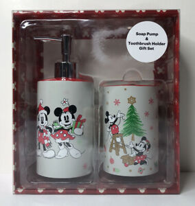 Disney Christmas Mickey Mouse Minnie Soap Pump & Toothbrush Holder Gift Set New