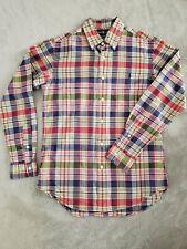 Ralph Lauren Custom Fit MADRAS Plaid PONY Shirt Mens S Blue, Green, Red, Beige