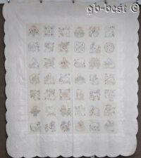 """Cottage Pictorial c 1920s Pictorial Embroidery QUILT Vintage 82"""" x 72"""""""