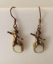 Vintage Style Bronze Mother Of Pearl Cupid Dangle Earrings