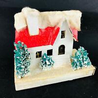 "Vtg lg White & Red Putz House 7""W Christmas Cottage Decoration Festive Japan"