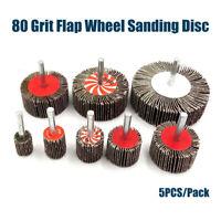 5Pcs/Pack Flap Wheel Disc Sanding Abrasive for Drill 6mm Shank 80 Grit 25mm-80mm