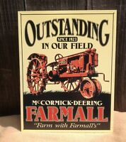 McCormick Deering Farmall Outstanding Tractor Tin Metal Sign Garage Classic