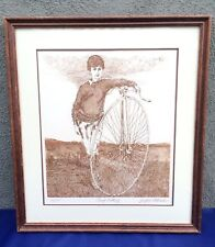 Signed Etching Joseph J Stelmach Penny Farthing Bicycle Limited Edition Numbered