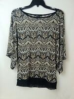 Robert Louis Blouse Sheer Brown Black Ladies Med Oversize Stretch Fitted Waist