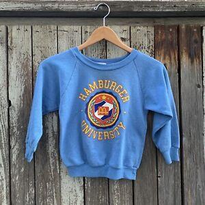 Vintage 80s McDonald's McKids Hamburger University Fleece Sweatshirt Size 7-8