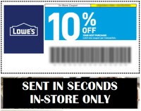 2X Two Lowes 10 % 5Coupons - Sent in SECONDS - In-Store Only - 06-30-20