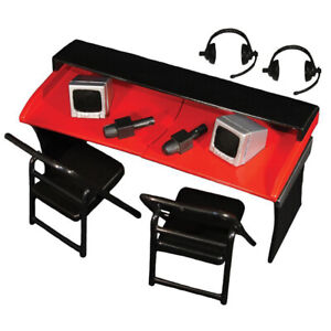 Commentators Playset WWE Table Chair Monitor Headset Wrestling Kid Toy Figure