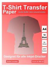 A4 T-Shirt Transferpapier für dunkle Stoffe, 10 Blatt