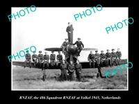 OLD POSTCARD SIZE PHOTO OF THE RNZAF AIR FORCE  486 SQUADRON AT VOLKEL c1945