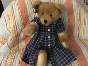 """BOYDS BEAR 17"""" Courtney Plush Jointed Blue Checked Dress w/ Pantaloons NWT"""