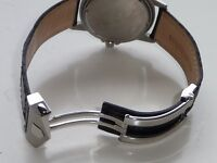 22mm for Tag Heuer Black Band Strap Alligator-Style with Deployment Clasp