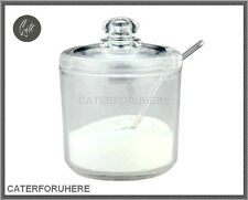 ACRYLIC PLASTIC CLEAR SWEETS SAUCE SUGAR BOWL CONDIMENT JAM CONTAINER SPOON LID