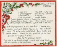 VINTAGE CHRISTMAS PLUM PUDDING 1 WINTER GARDEN BEE HIVE SNOW SQUIRREL BIRDS CARD