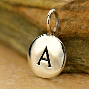 925 Sterling Silver Letter Disk Round Charm Initial Alphabet Pendant Necklace