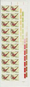 Stamps Australia 1978 Crimson Finch bird gutter block of 20 inc sheet number