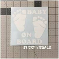 Baby On Board Feet Window Decal Sticker Pick Your Size and Color Mom Dad